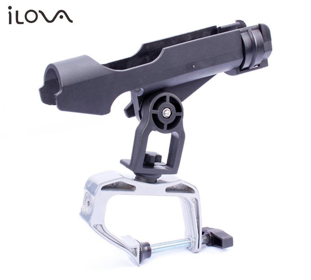 ILOVA Fishing Boat Rods Holder 360 Degree Adjustable Fishing Rod Racks with Large Clamp Opening Folding Holder