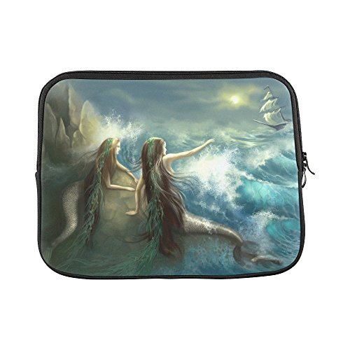 InterestPrint Abstract Hunting Two Mermaids in Stormy Ocean Laptop Sleeve Case Bag Notebook Laptop Sleeve Bag 13 13.3 Inch for MacBook Pro Air Dell HP Thinkpad Acer Tablet Woman Man