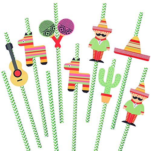 Mexican Straw - Ruisita 48 Sets Mexican Fiesta Party Paper Straws Cactus Sombrero Donkey Pattern Striped Drinking Decorative Straws for Party Supplies