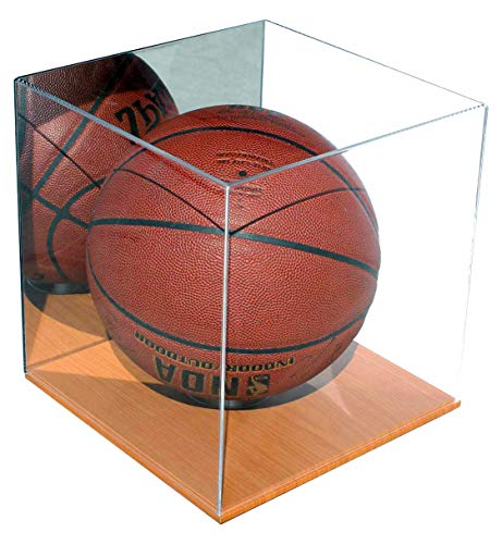 Basketball Display Case Soccer/Volley Ball Holder Stand, UV Protection (Mirrored, with Wood Floor)