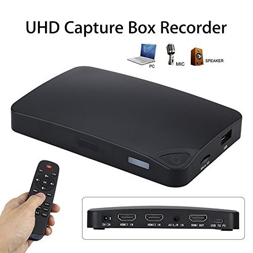 Riiai 2K UHD 2 HDMI USB 2.0 Video Capture Box Recorder With the Remote Control Decode Up to 1080p 30@fps by Riiai