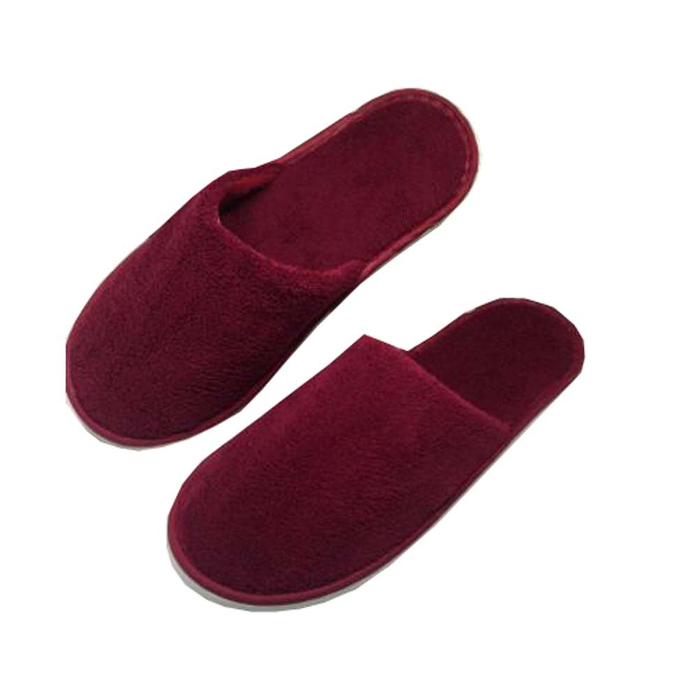 5 Pairs Towelling Slippers Closed Toe Disposable Slippers Hotel/Home Slippers,C Black Temptation