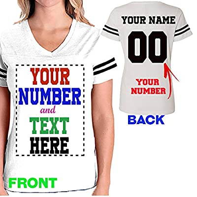 CRAZYDAISYWORLD Made your OWN V-NECK JERSYS women's t-shirt for team uniform just add your TEXT