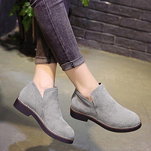 BUIMIN Mujeres de Zapatos Bajos de Gamuza con Botas de Moda, Primavera, Cómodo, Talla 35-40, Gris