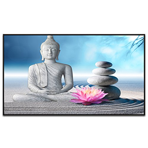 Act Framed Print - Visual Art Decor Buddha Canvas Wall Art Framed and Stretched Large Peaceful Buddha Act with Compassion White Sand Zen Stone Canvas Prints Buddhism Decoration for Wall (32