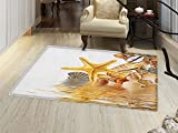 smallbeefly Seashells Bath Mats Carpet Shells and Starfish Reflection Water Golden Color Spa Clear Beach Theme Floor Mat Pattern Earth Yellow Cream