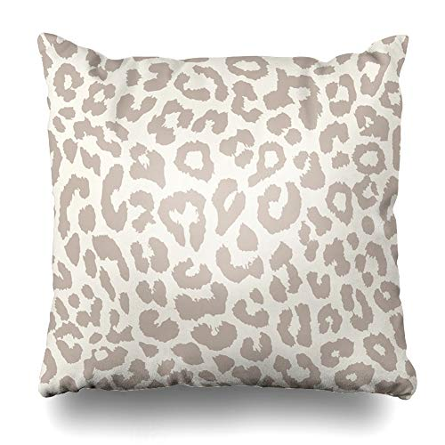 - DIYCow Throw Pillow Covers Albino Brown Pattern Leopard Wildlife Cheetah Abstract Wild Fur Zoo Safari Design Nature Home Decor Pillowcase Square Size 16 x 16 Inches Zippered Cushion Case