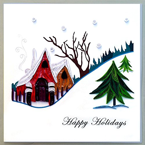 A Snowy Village Happy Holidays Quilling Greeting Card, 6×6 with Envelope. Hand-made. Suitable for Framing.