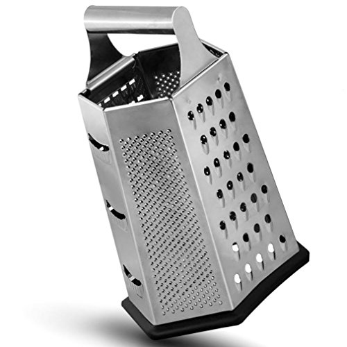 Razator Box Grater, 6-Sided Stainless Steel for Parmesan Cheese Vegetable Ginger Nutmeg Shredder Lemon Potato Hand Slicer Set for Kitchen Zest Fruits & Chocolate, Metal Handle Non Slip Bottom ()