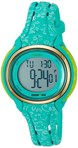 - Timex Ironman Sleek 50 Blue Floral Stopwatch Memory Timer Sport Watch TW5M03100