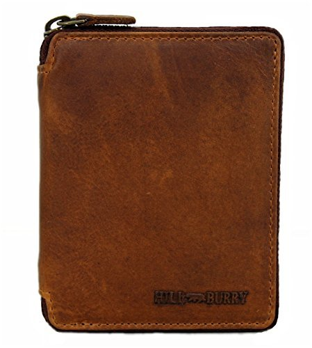 Wallet Genuine Leather Zippered (Genuine Leather Wallet for Men Women Handmade Bifold Wallets ID Card Holder with coin pocket Zipper brown Detroit)