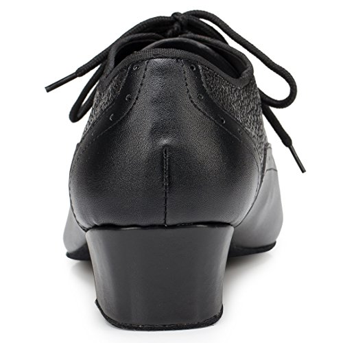 TDA Herren Schnürschuh Round Toe Leder Komfort Fashion Salsa Tango Ballsaal Latin Modern Dance Schuhe Schwarz