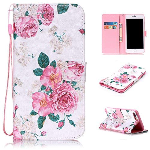 iPhone 7 Plus Case Wallet Design, iPhone 7 Plus Covers and Cases Protection Leather TPU Bumper With ID Card Holder Magnetic Closure Lanyard Flip Stand Defender Protective for Apple iPhone 7 Plus(Rose)