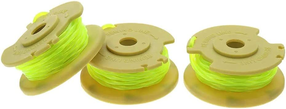 Hilos para desbrozadoras 0.080 Pulgadas de línea 3pcs compatibles con Ryobi 12V 24V 40V Segadora para cortadoras de césped y desbrozadoras (Color : Yellow, Size : 11ft)