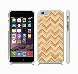 iStar Cases? iPhone 6 Plus Case with Chevron Pattern Tan/ Peach/ Pearl Stripe , Snap-on Cover, Hard Carrying Case (White)
