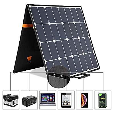 Kingsolar Solar Charger 100W Portable Solar Panel Charger with 5V USB 18V DC Dual Output Waterproof Camping Foldable Solar Charger for Cell Phone Tablet GPS iPhone iPad Camera Electronic Device