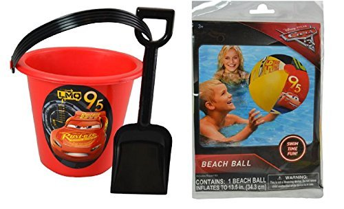 Party Favors New 2017 Disney Cars 3 Sand Bucket and Shovel Plus Beach Ball Play Set]()