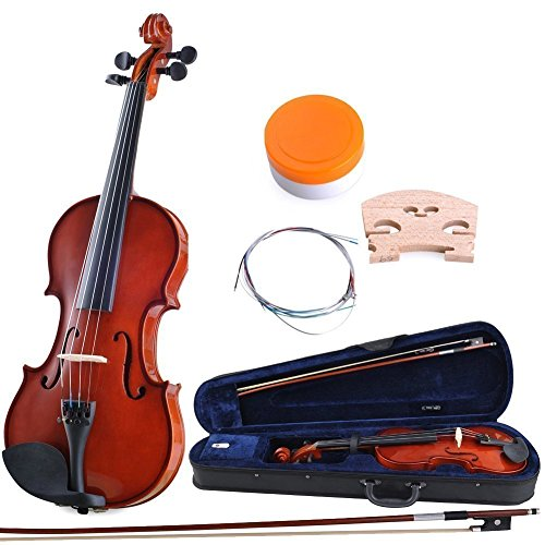 ADM 4/4 Full Size Handcrafted Solid Wood Student Acoustic Violin Starter Kit by ADM
