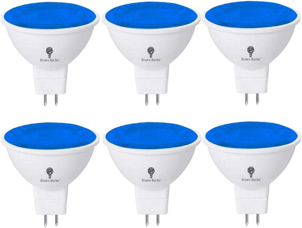 6 Pack BlueX LED MR16 Blue Light Bulb - 6W (50Watt Equivalent) - GU5.3 Bi-Pin Base 12V Blue LED Blue Bulb, Party Decoration, Porch, Home, Holiday Lighting, Decorative Illumination MR16 LED Bulb