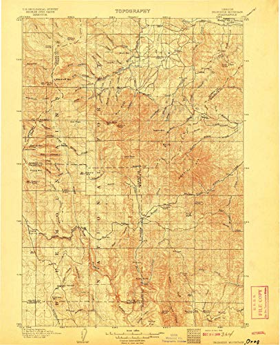 YellowMaps Ironside Mountain OR topo map, 1:125000 Scale, 30 X 30 Minute, Historical, 1908, Updated 1908, 19.6 x 16 in - Tyvek