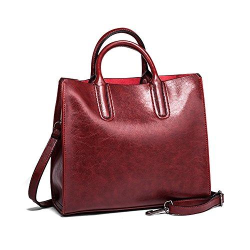 Sanxiner Top-Handle Bags Satchel Handbag Tote Bag Leather Shoulder Bag for Women (Red) (Cheap Designer Bags)