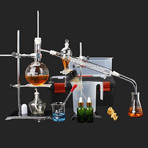 New Distillation Device Set Pure Hydrosol/Water/Home Distiller Essential oil Extraction Chemical Experiment Equipment,Moonshine, Alcohol Distiller 20pcs set, 500 ML by Aimee_JL