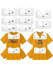T-Shirt Ruler Guide for Heat Transfer Vinyl HTV, PVC Tshirt Alignment Tool for Round Neck and V-Neck T-shirts Front and Back Heat Press Transfer, T-shirt Ruler for Family Adult Youth Children (White, A 8pcs)