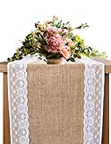 country kitchen table runners OZXCHIXU Burlap Lace Hessian Table Runner, Rustic Natural Jute Country Wedding Party Dining Table Decoration 12x96 inches