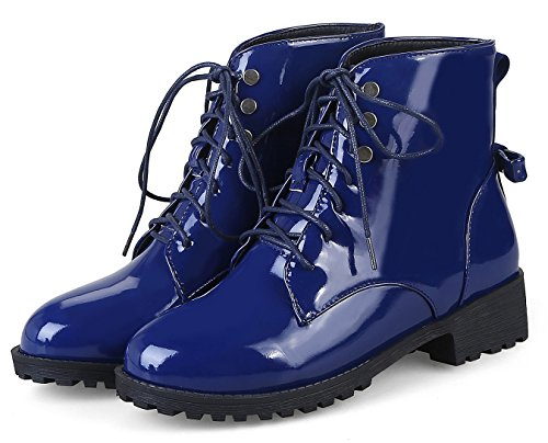 Up Aisun Toe Burnished Booties Blue Heel Low Ankle Comfort Round Womens Boots Lace Chunky 6grqw86Txn