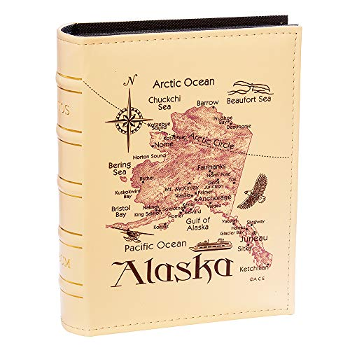 Longpro Imitation Leather Sidekick Photo Album Pictures Collection Container PU Cover Alaska Map Insert Pocket Memories Organizer Storage Holder Travel Vacation Birthday Wedding Anniversary