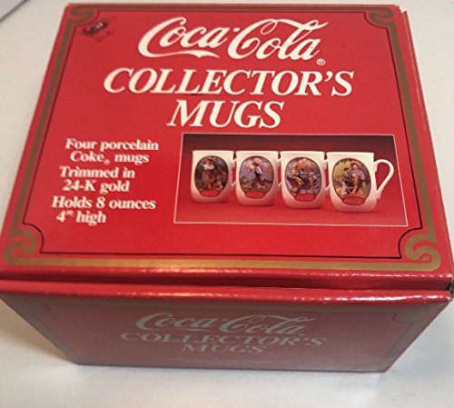 Coca Cola 24K Collectors Set 8 Oz 4 Inch High Porcelain Cup Mug Norman Rockwell N.C. Wyeth Artwork