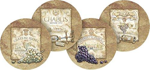 [Thirstystone Stoneware Coaster Set, Wine Labels A/4] (Fruit Wine Labels)