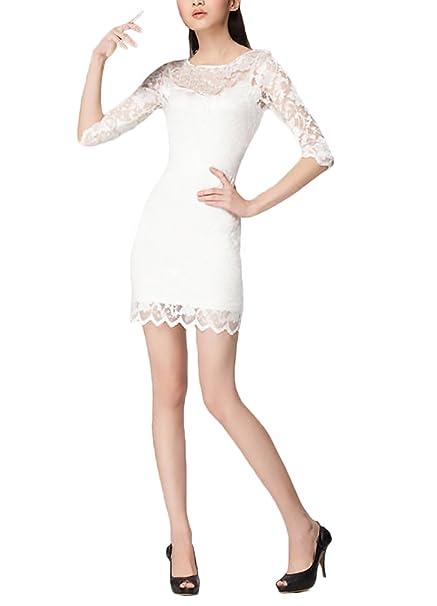 Donna Vestiti Eleganti da Cerimonia da Sera Festa Pizzo Unico Abito Vintage  Moda Giovane Manica 3 6375127aeea
