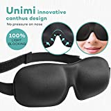 Sleep Mask for Woman & Man UNIMI Upgraded Contoured 3D Eye Mask Eye Cover For Sleeping - Comfortable Sleeping Mask No Pressure On Your Eyeballs - Create Total Darkness -Black