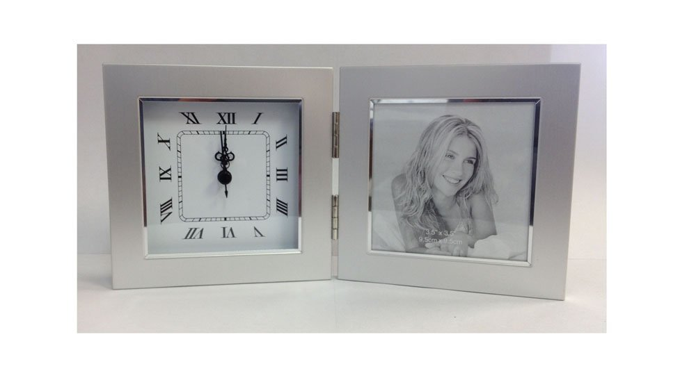 Upper Gifts Silver Metal 3.5 x 3.5 Picture Frame with Clock