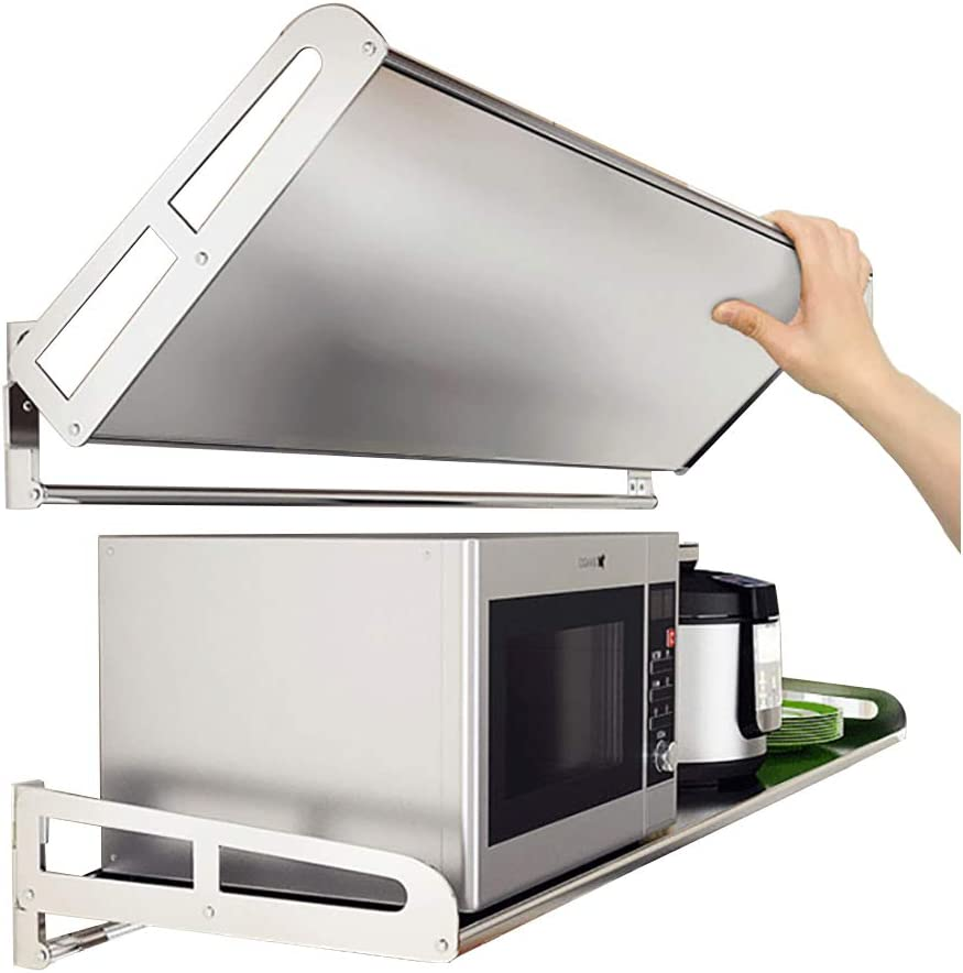 Amazon Com Foldable Stainless Steel Microwave Oven Wall Mount Shelf With 5 Hooks 304 Kitchen Commercial Rack Restaurant Bar Multifunctional Storage For Toaster Spice Stand