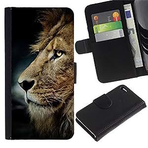 A-type (Messy Hair Lion Mane Golden Brown) Colorida Impresión Funda Cuero Monedero Caja Bolsa Cubierta Caja Piel Card Slots Para Apple Iphone 4 / 4S