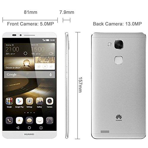 Huawei Ascend Mate 7, ROM 16GB+ RAM 2GB 6.0 inch 4G EMUI 3.0 Smart Phone Hisilicon Kirin 925 Octa Core 4x1.8GHz + 4x1.3GHz + 1x230MHz, Dual SIM, 5.0MP+3MP (Silver)