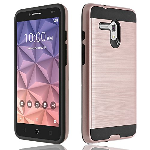 Alcatel One Touch Fierce XL Case, ZeopoCase Hybrid Armor Dual Layer Defender Protective Hard Case Cover for Alcatel OneTouch Fierce XL (5054) (Rose Gold)