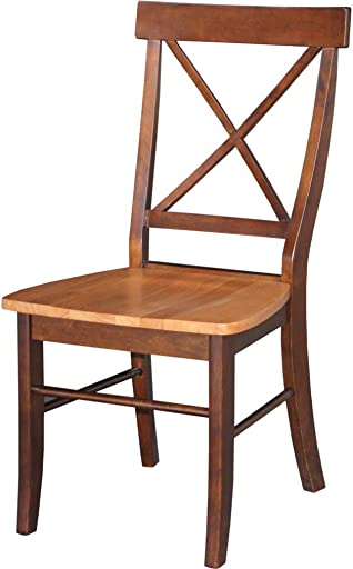 International Concepts Cross Back Side Chair Set of 2 Finish: Cinnamon and Espresso - a good cheap living room chair