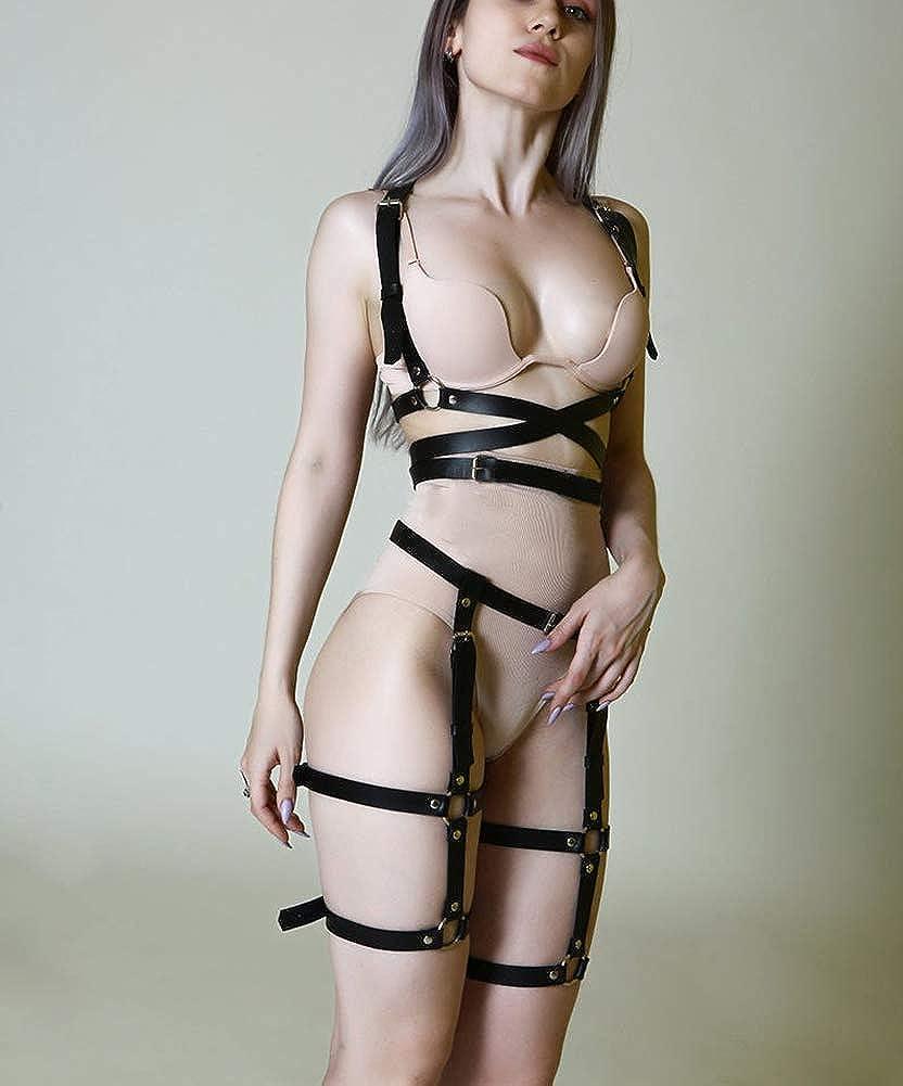 keland Women Punk Leather Shoulder Strap Belt With Garter Leggings Halloween Lingerie Clothing