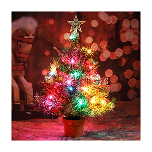 CASA CLAUSI Christmas Tree Tabletop Decorated Pre-lit Small Little 22 Inch with Ornaments 35 Multi-Colored Lights Artificial Green Tree (Christmas Decorated Tree Tabletop Pre)