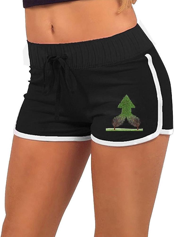 Quliuwuda Womens Green Tree Arrow Black Skinny Swimming Adjustable Low Waist Hot Shorts