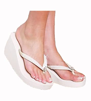 c0ffdedcf4120 White/Ivory Special Occasion Women High Wedge Flip Flop
