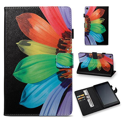 Hd Fire Petals - All-New Kindle Fire HD 8 2017/2016 (7th/6th Generation) Smart Case, Folio Stand Synthetic Leather Cover with Auto Wake/Sleep [Card Slots/Cash Holder] for Kindle Fire HD 8 2017/2016, Colorful Petals