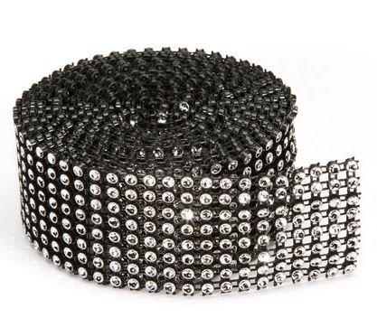 10/rang/ée The box trader 6/m de Longueur de 50/mm Noir//Argent Bordure Ruban Faux Diamants