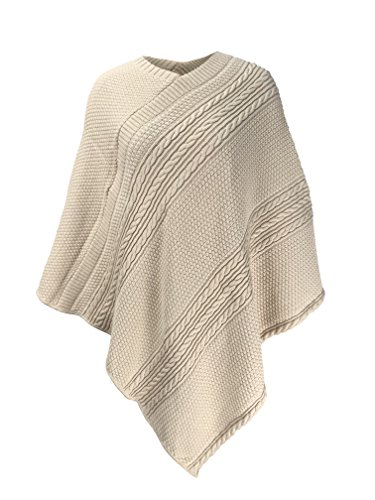 Green 3 Cable Knit Poncho (Natural Cotton) - Womens Recycled Cotton Sweater Knit Wrap, Made in The USA (One Size)
