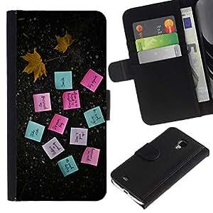 NEECELL GIFT forCITY // Billetera de cuero Caso Cubierta de protección Carcasa / Leather Wallet Case for Samsung Galaxy S4 Mini i9190 // MOTIVACIÓN POSTE NOTAS