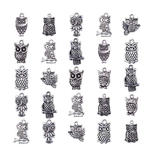 Pandahall 50PCS Mixed Antique Silver Tibetan Style Alloy Animal Pendants