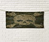 Camo,Hair Towel,Abstract Texture Skull Crossbones Pattern Aged Rusty Grunge Style,Quick-Dry Towels,Dark Green Khaki Cream Size: W 8'' x L 23.5''